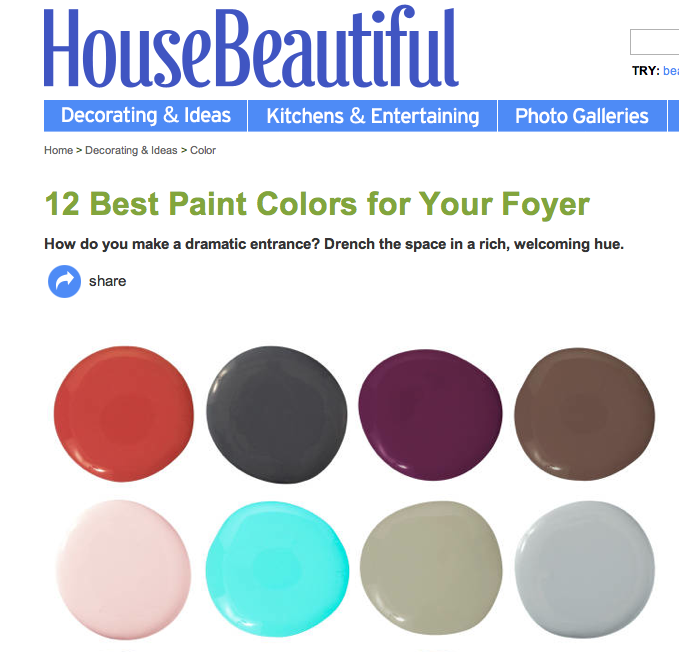 Mona ross berman interiors house beautiful 12 best for Popular paint colors for foyers